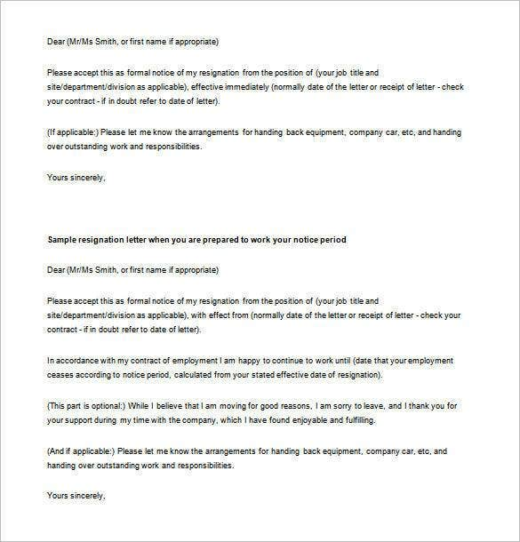 Simple Resignation Letter Template 24 Free Word Excel PDF – Sample Resignation Letters with Notice Period
