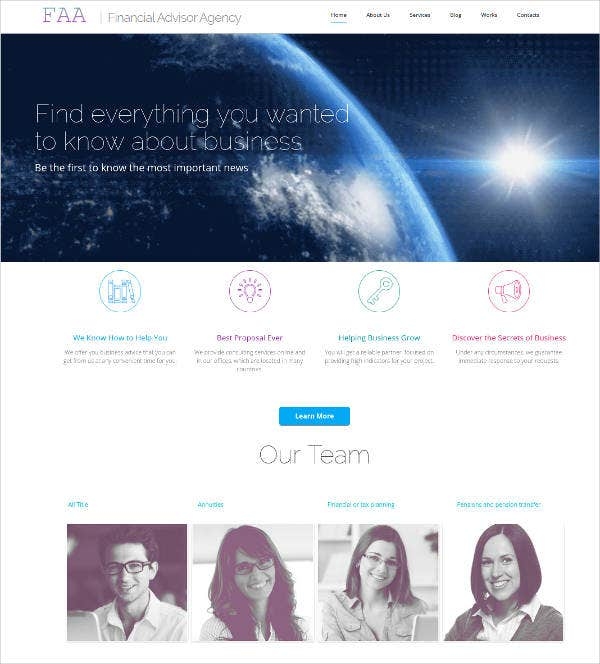 financial advisor agency website theme
