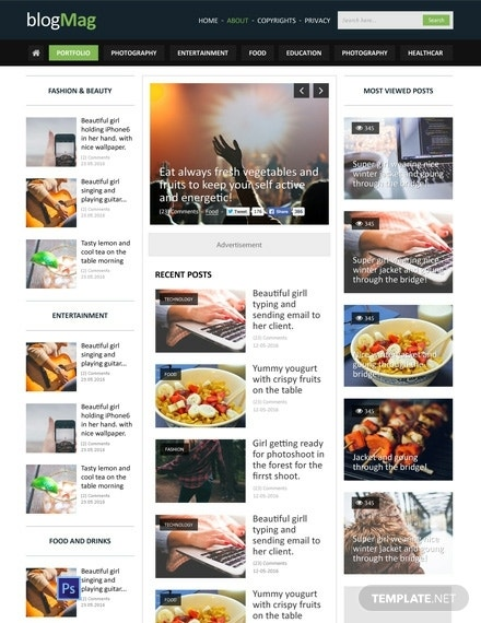 free blog style magazine psd website template