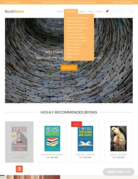 free book store html5 and css3 website template