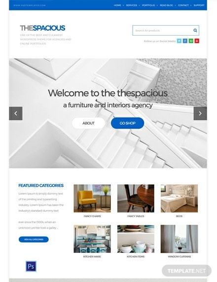 free interior design firm psd website template