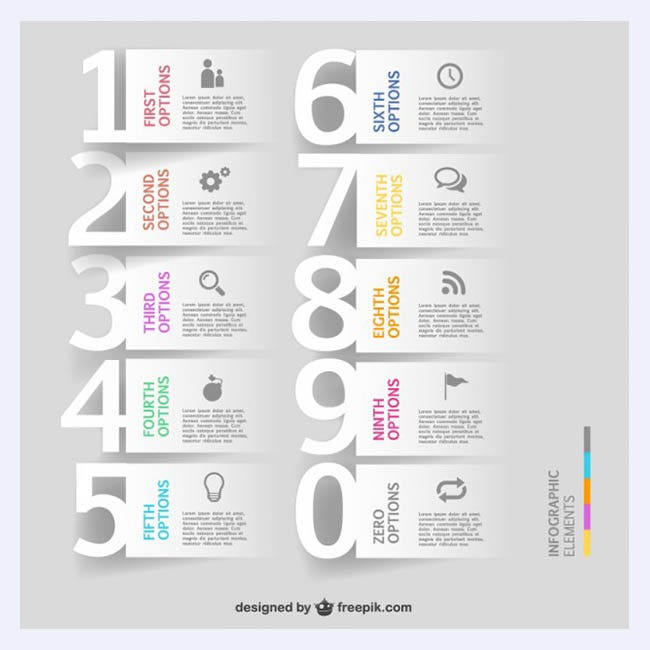 Free infographics number options template