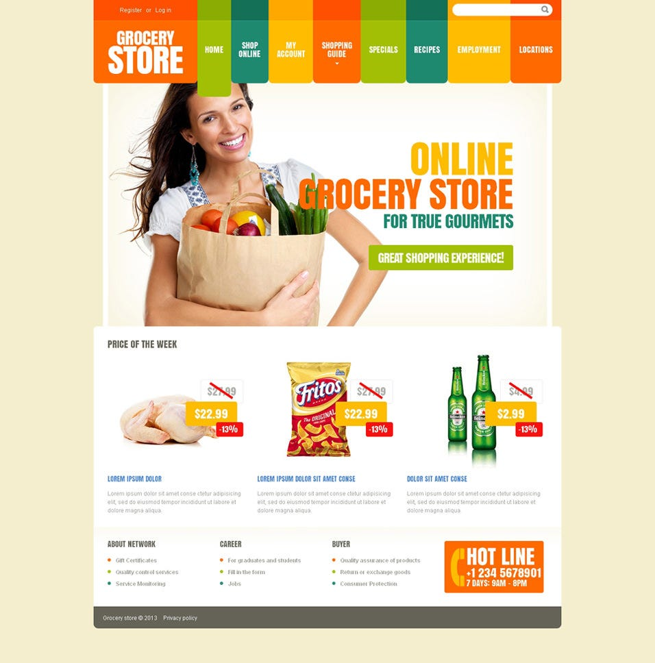 grocery store website themes templates premium grocery store responsive website template
