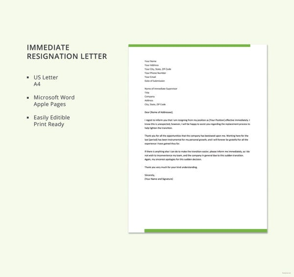 Immediate Resignation Letter Template. Details. File Format. Microsoft Word  ...