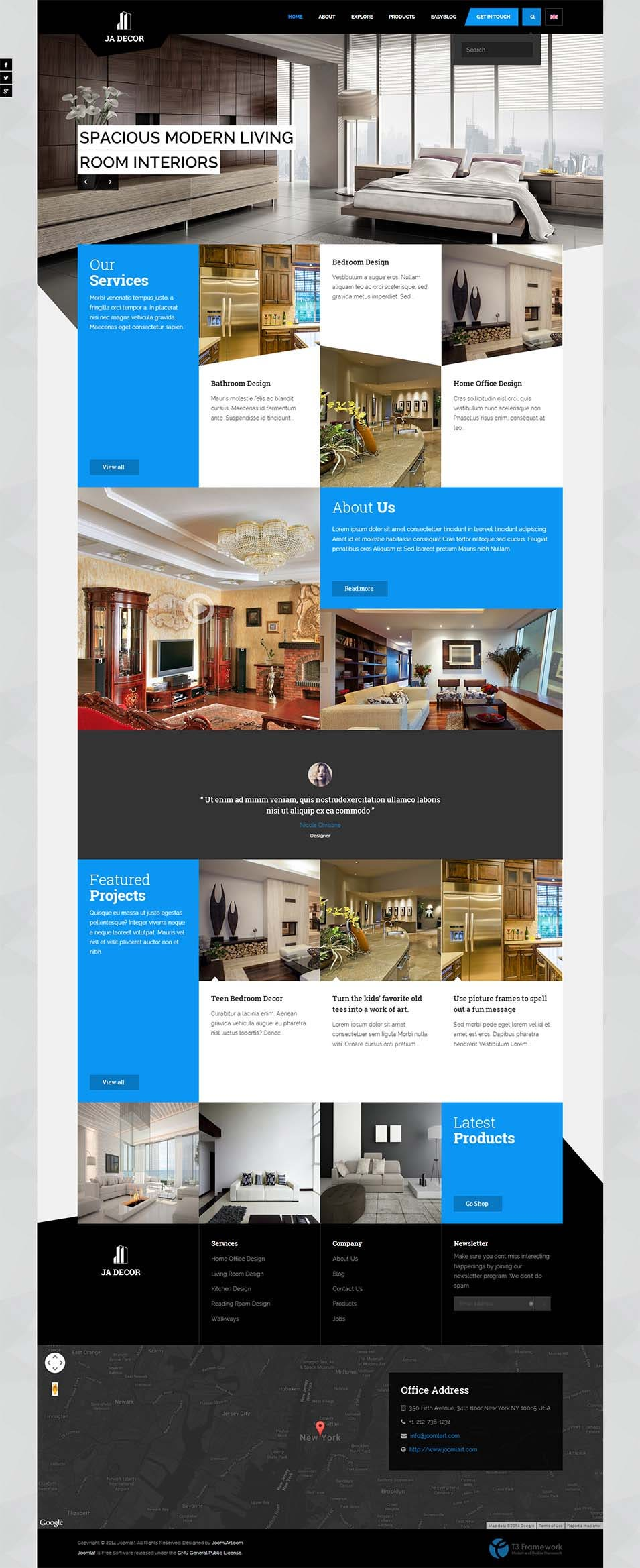 40 interior design website templates free premium for Addison interior design decoration wordpress theme nulled