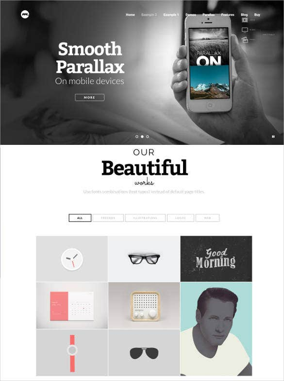 one page multi page parallax theme