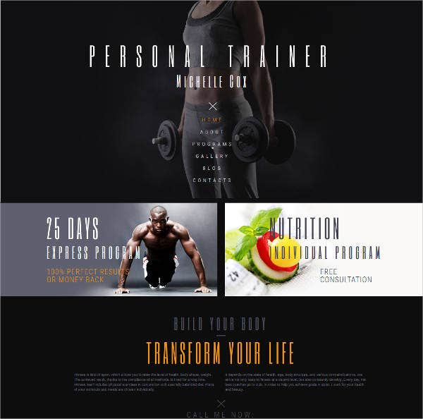 online-fitness-trainer-website-design
