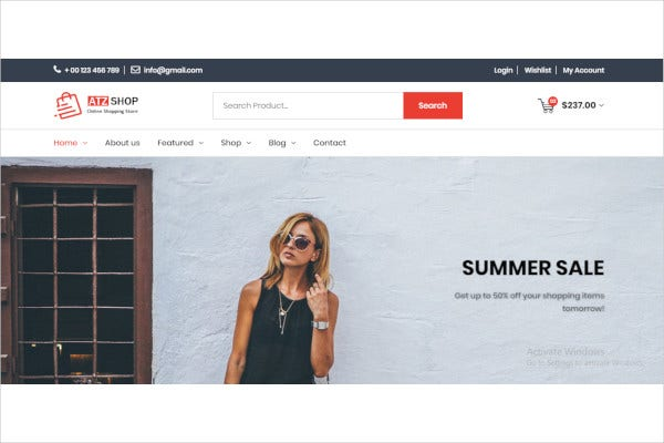 online shopping store html template