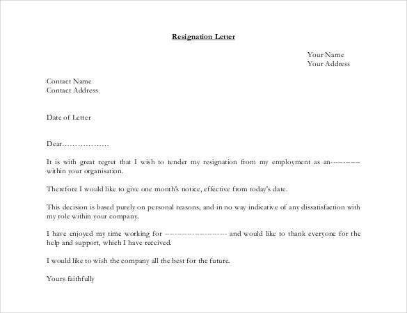 Good Simple Resignation Letter