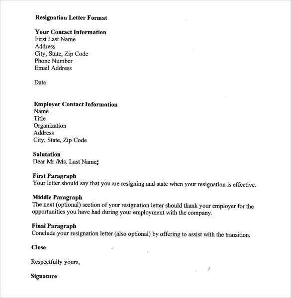 Letter Or Resignation  Template