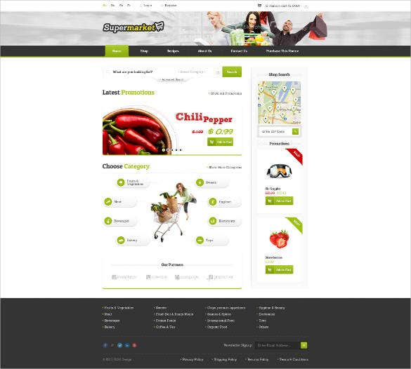 responisve eshop psd website template