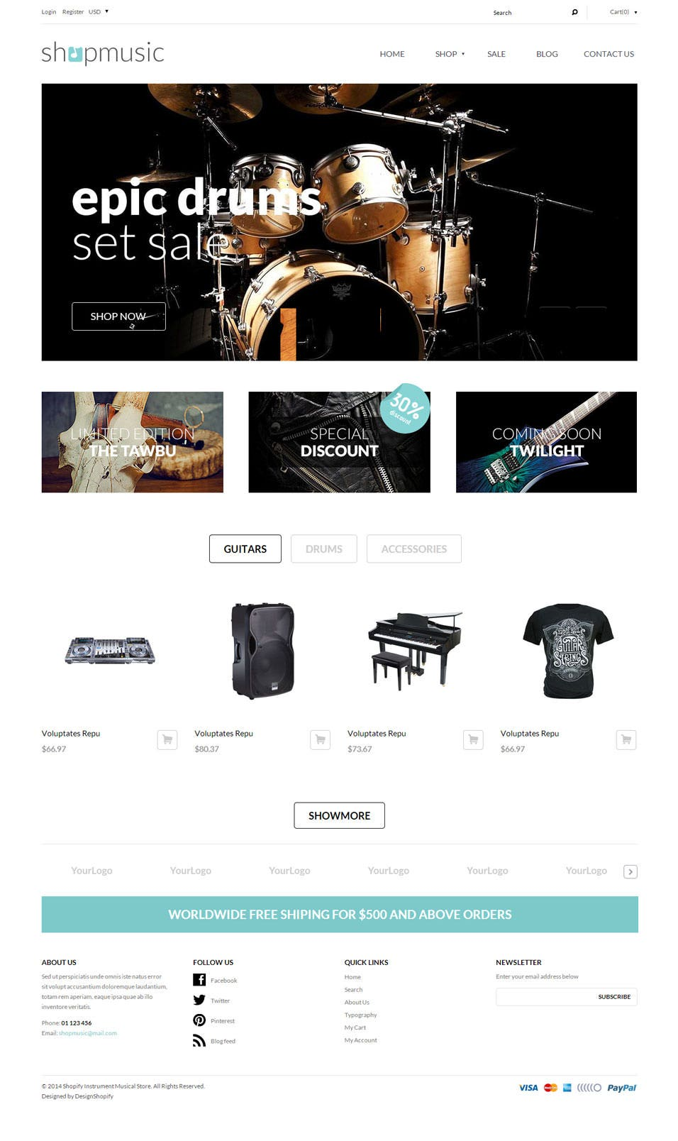Best shopify themes for music stores free premium templates for Shopify theme download