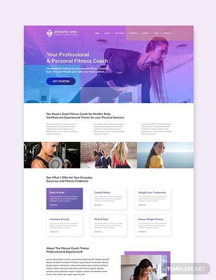 sample fitness trainer coach wordpress landingpage theme
