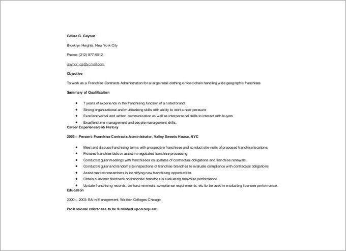 franchise contracts administrator resume template free download - Contract Administration Sample Resume