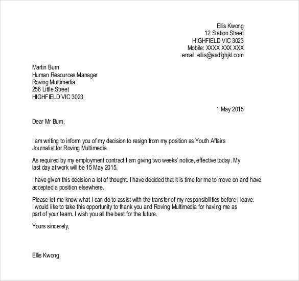 resign letter - Hobit.fullring.co