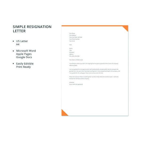 Simple Resignation Letter. Details