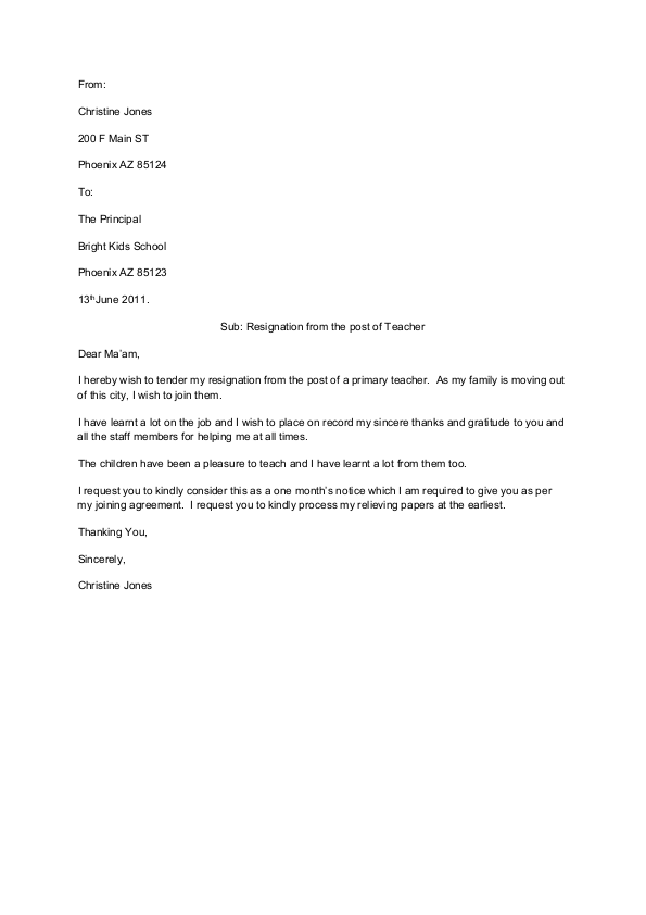 Teacher Resignation Letter Template u0ppUFXq