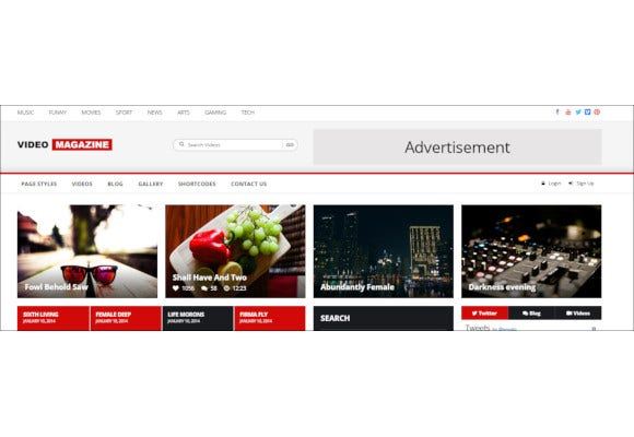 video magazine html website template