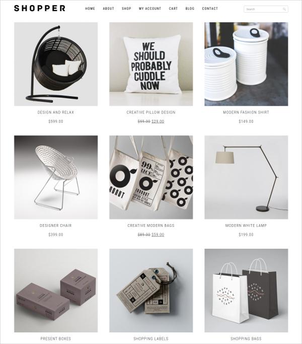 free minimal design woocommerce theme