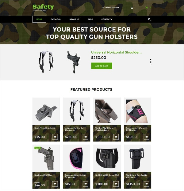 Security Gun Holsters VirtueMart Shop Template $139