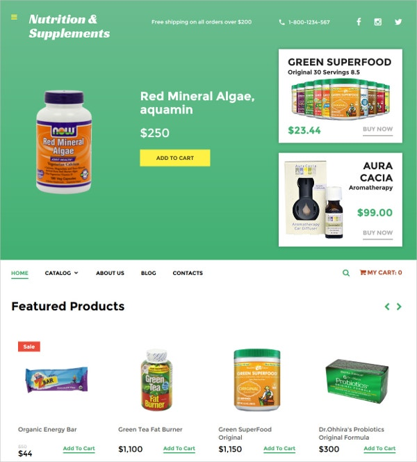 Premium Nutrition Supplements VirtueMart Shop Template $139