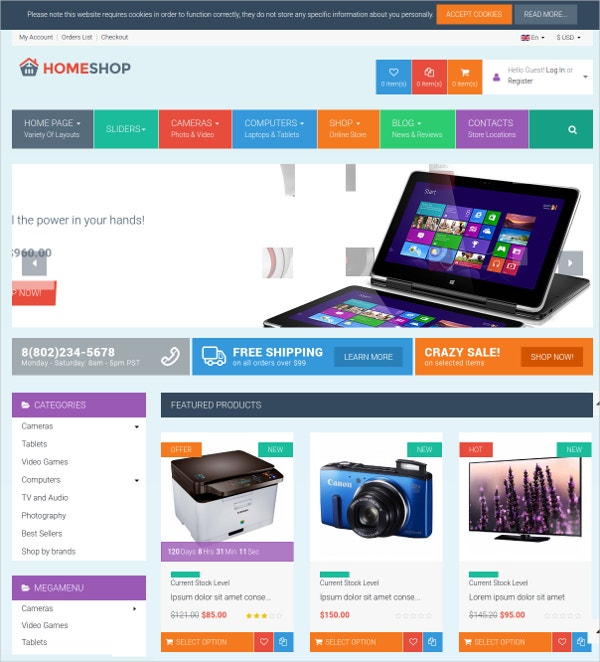 Multipurpose Electronic Gadget VirtueMart Shop Theme $58