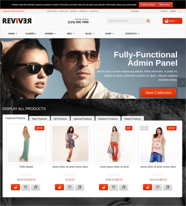 Responsive Clothing VirtueMart Shop Theme $53