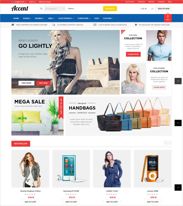 Fully Responsive Virtuemart Shop Theme $55