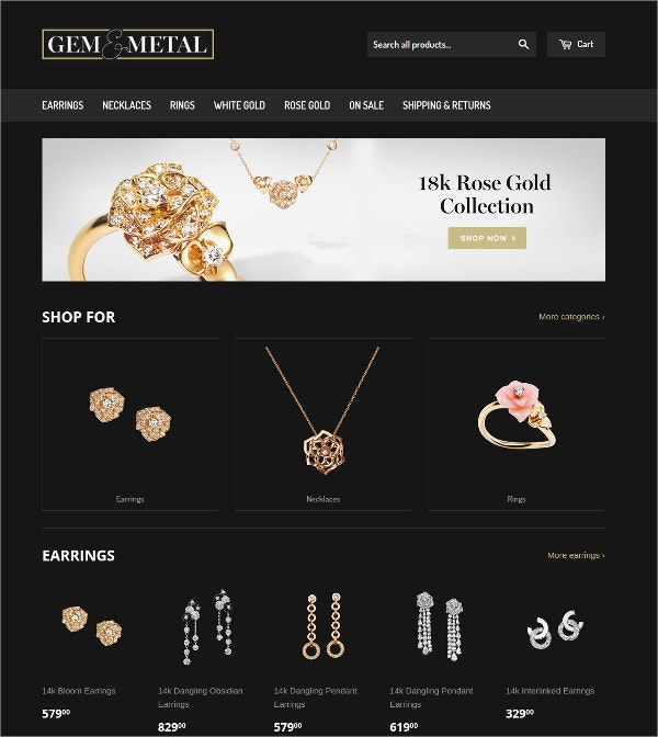 Free Jewelry Collection Shopify Theme