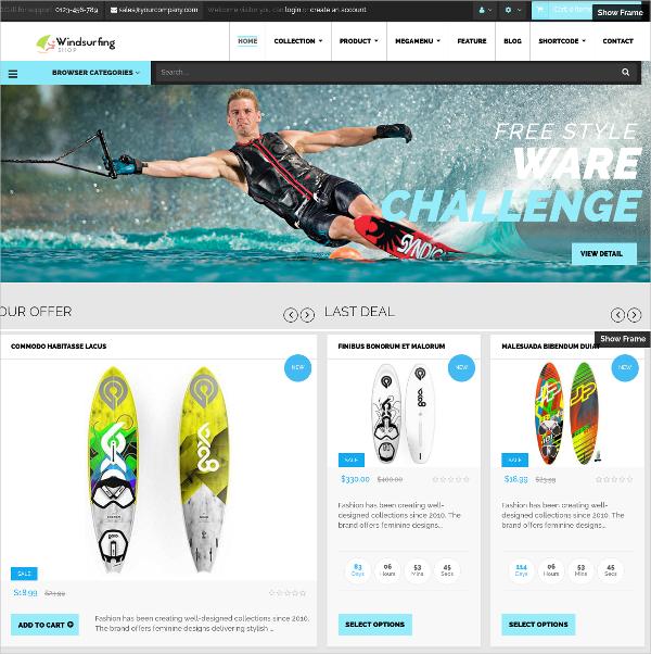 Free Windsurfing Shopify Theme