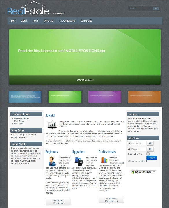 free real estate website joomla theme