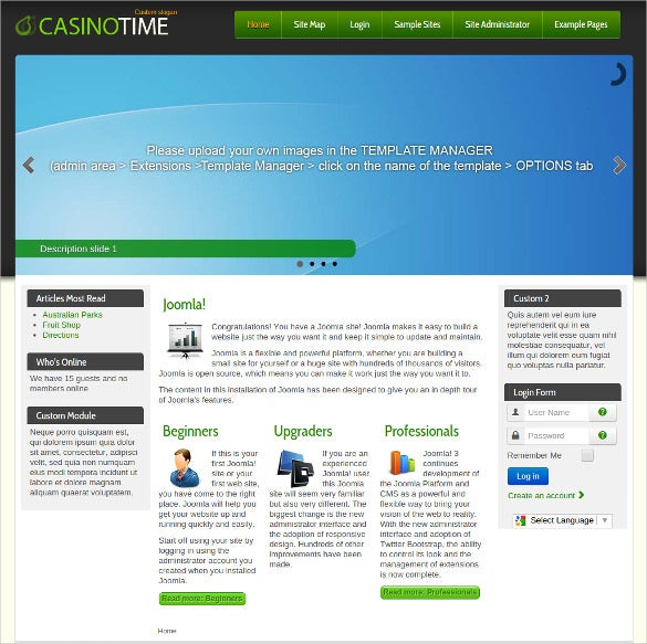 free casino website joomla template