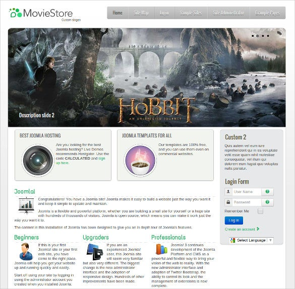 free movie store joomla theme