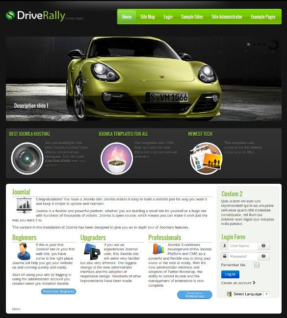 free drive rally website joomla template