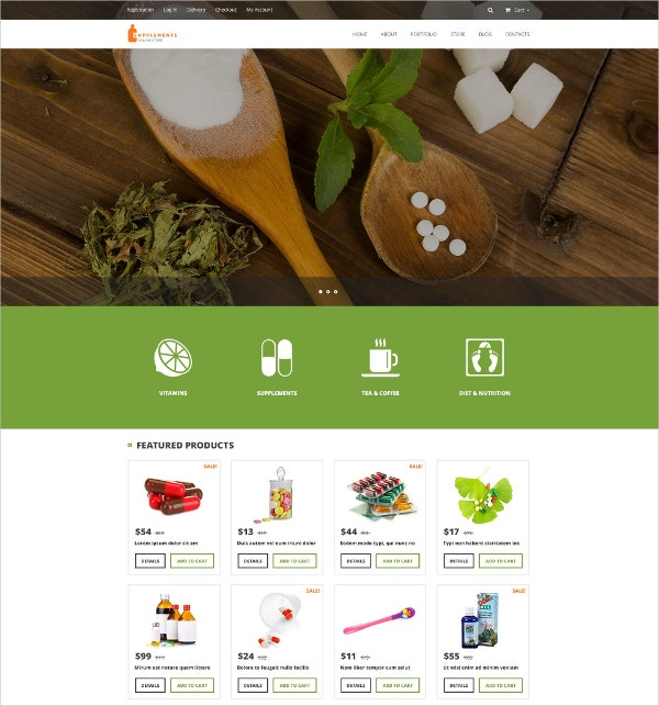 Online Nutrition & Vitamin Supplements Store WooCommerce Theme $114