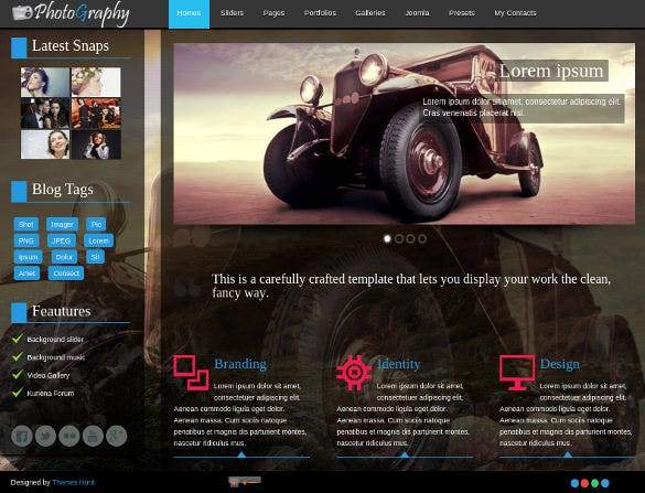 responsive photography joomla theme