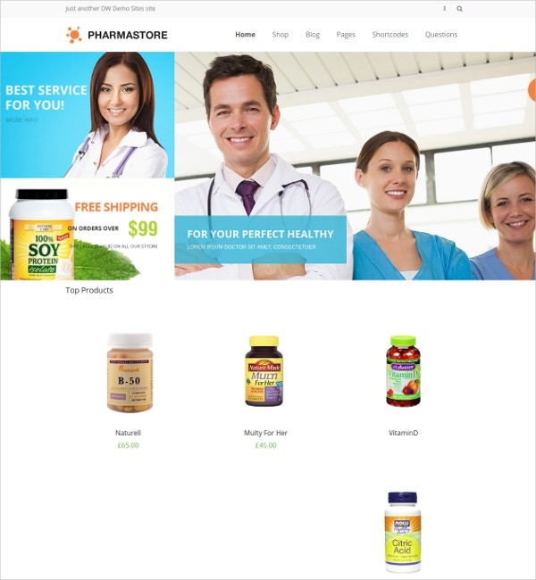 Medical Phramacy Store WP WooCommerce Theme $29