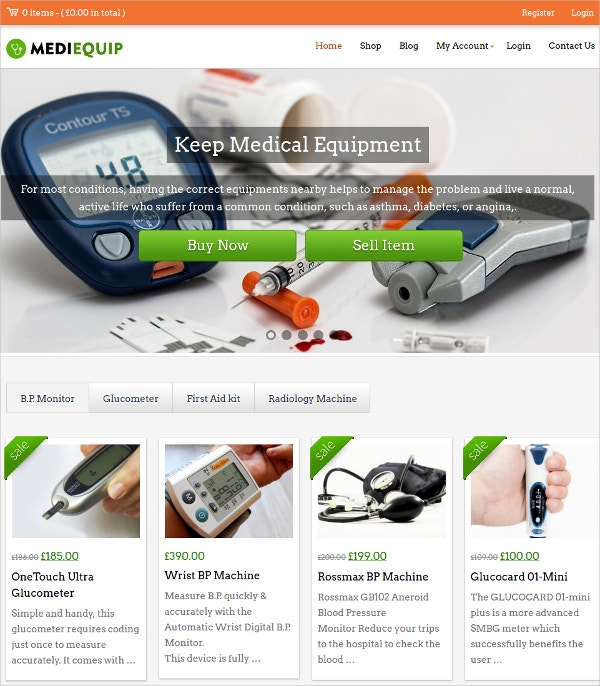 Medical Store & Clinic Woocommerce WordPress Theme $46