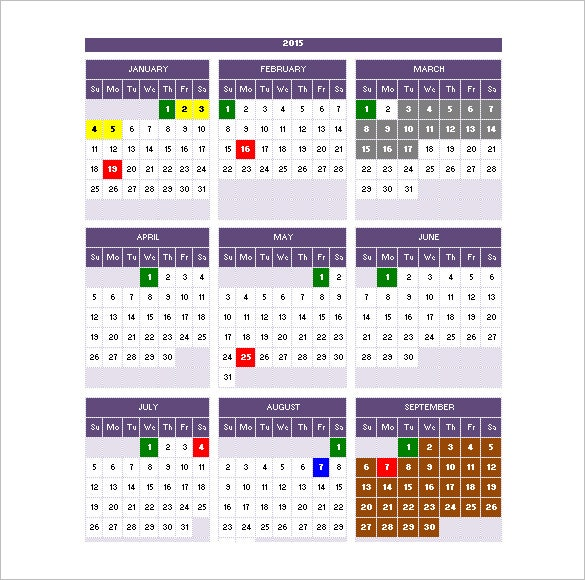 2015 calendar schedule portrait start from sunday download