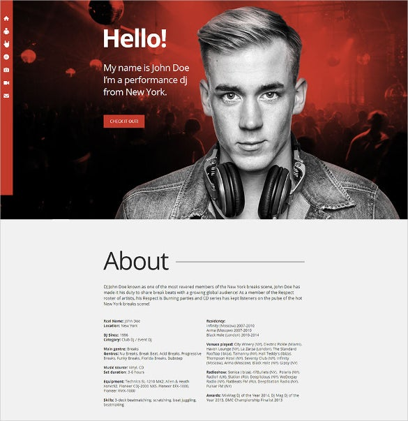 responsive dj promo website template