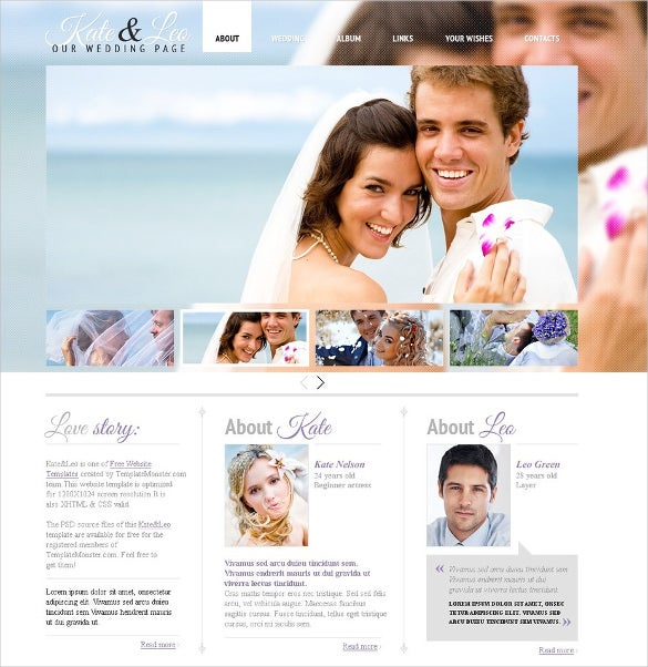 Free Wedding Page Website Theme