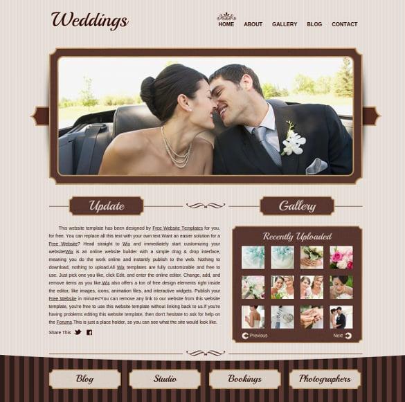 free wedding gallery website template