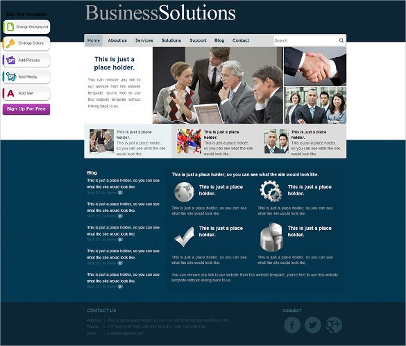 free online business solution website template