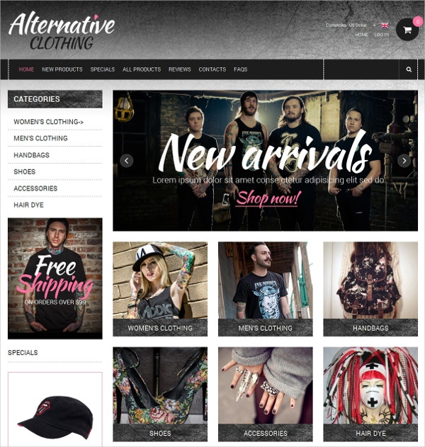 attractive clothing zencart template 139