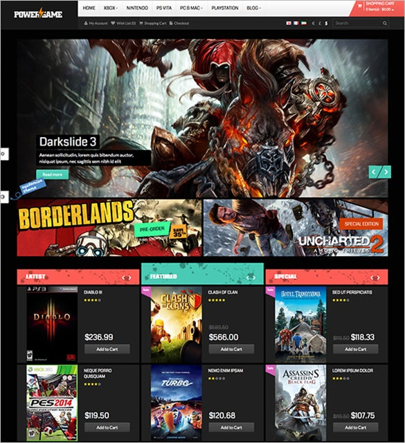 stylish gaming opencart php theme