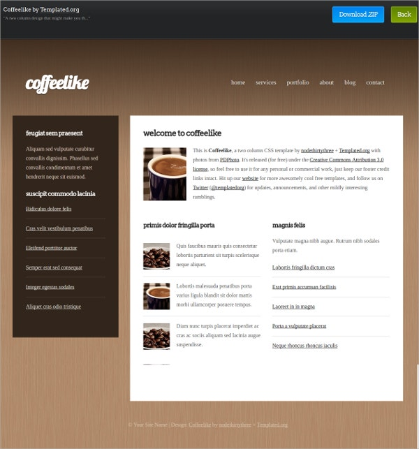 Coffeelike Two Column Free CSS Theme
