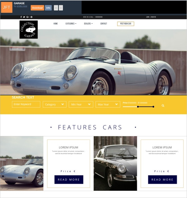 Free CSS Template For Car Garage