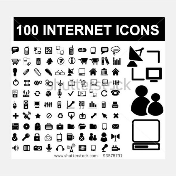 100 internet icons set vector