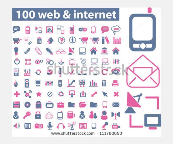 100 web & internet icons set, vector