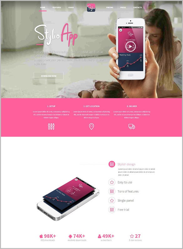 responsive html5 app landing page template